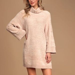 Lulu's Sweaters - Chenille Feels Cream Knit Turtleneck Sweater Dress